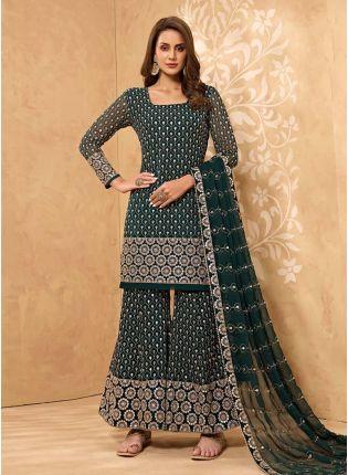 Georgette Fabric Zari And Mirror Work Green Color Sharara Salwar Suit