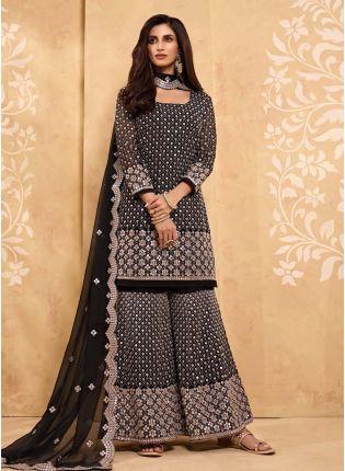 buy Black Color Mirror And Zari Work Georgette Fabric Sharara Salwar Kameez