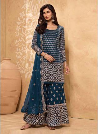 Zari And Mirror Work Blue Color Georgette Base Sharara Salwar Suit