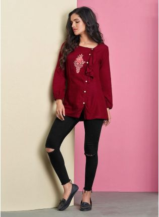 Maroon Color Cotton Base Full Sleeves Casual Wear Short Kurti