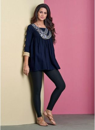 Navy Blue Color 3/4th Sleeves Cotton Fabric Casual Wear Short Kurti
