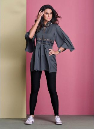 Cotton Fabric Angel Sleeves Grey Color Casual Wear Short Kurti