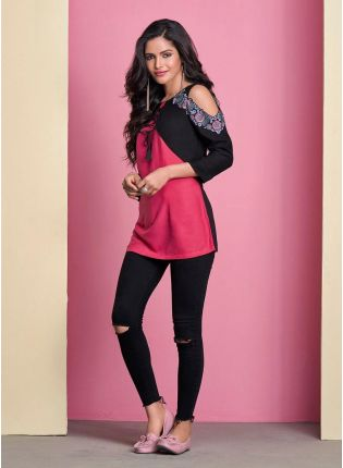 Pink And Black Color Cotton Base Round-Cut Sleeves Partywear Kurti