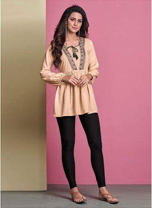 Classic Cream Color Cotton Fabric Casual Wear Full Sleeves Short Kurti