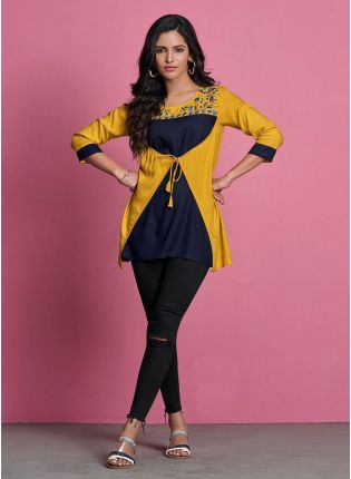 Yellow And Navy Blue Color 3/4th Sleeves Simple Short Kurti