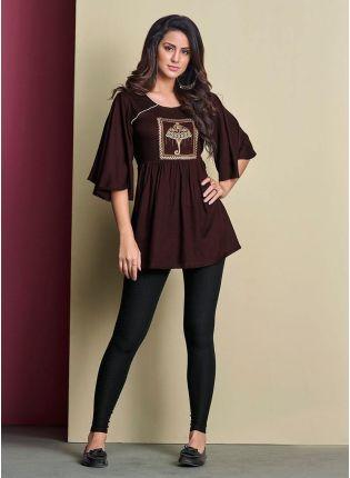 Dashing Cotton Base Brown Color Bell Sleeves Short Kurti