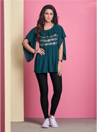 Teal Green Color Cape Sleeves Cotton Fabric Casual Wear Short Kurti