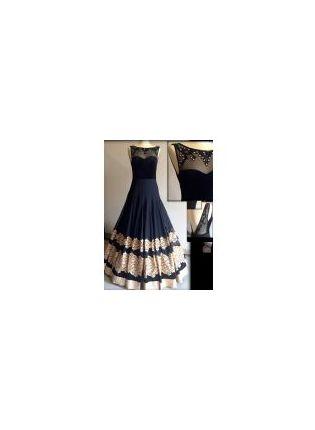 Splendid Black Resham Handwork Georgette Designer Party Wear Gown