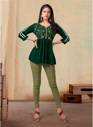 Forest Green Color 3/4th Sleeves Cotton Fabric Casual Wear Short Kurti