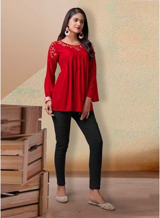 Red Color Cotton Base Bell Sleeves Partywear And Casual Wear Short Kurti