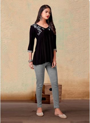 Black Color Cotton Fabric 3/4th Sleeves V-Neck Casual Short Kurti