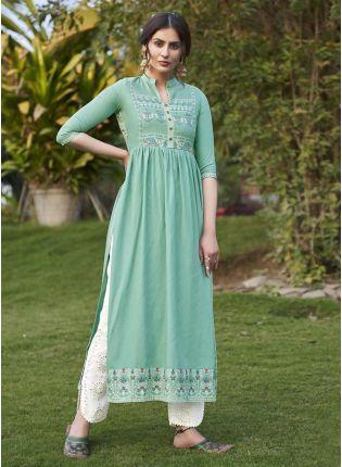 Ravishing Look Turquoise Color Art Silk Base Casual Wear Pant Style Salwar Suit