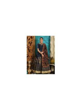 Splendid Outstanding Navy Blue Silk Base Intricate Hand Work Designer Gown