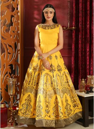 Affordable Elegant Bright Yellow Silk Designer Gown With Metallic Foil Print