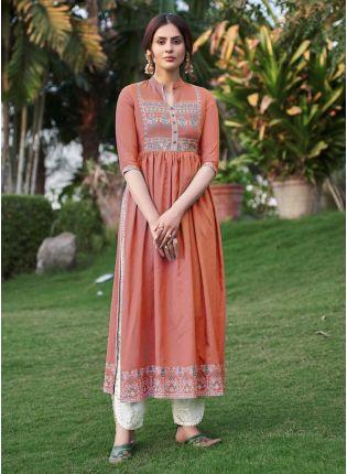 Peach Color Art Silk Base Beautiful Work Casual Wear Pant Style Salwar Suit