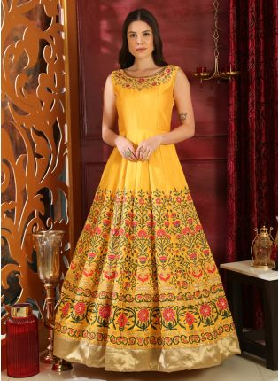 Buy Sparkling And Remarkable Bright Yellow Silk Designer Ethnic Gown