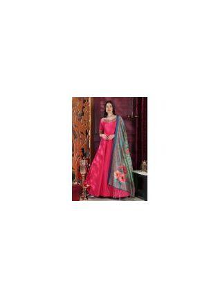 Affordable Tempting Deep Pink Silk Base Trendy Festive Wear Digital Printed Gown