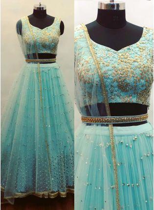 Shop Sky Blue Sequin Soft Net Party Wear Lehenga Choli