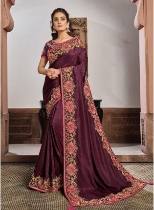 Mesmerizing Mauve Pink Color Silk Base Resham Work Designer Saree