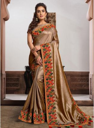 Fascinating Beige Gold Color Silk Fabric Sequins Work Occasion Wear Saree