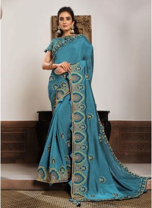 Beguiling Blue Color Silk Fabric Resham And Gota Work Wedding Wear Saree