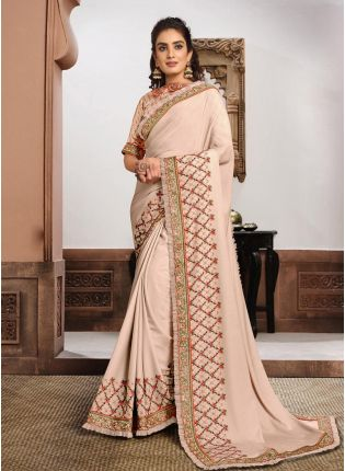Nude Pink Color Silk Fabric Zari And Resham Work Designer Saree