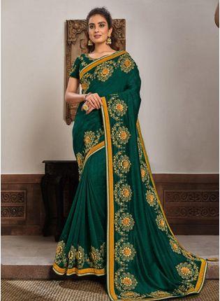 Deep Green Color Silk Fabric Resham And Zari Work Occasion Wear Saree
