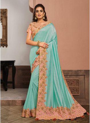 Engrossing Sky Blue Color Silk Base Zari And Resham Work Saree