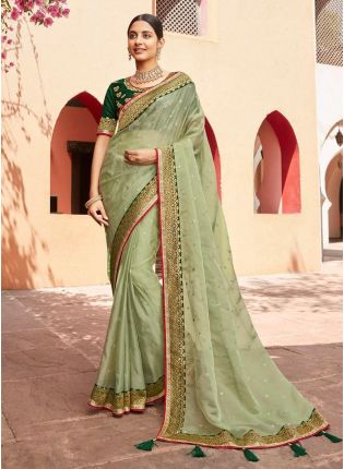 Dashing Light green Color Organza Base Stone And Silk weave Traditional Saree