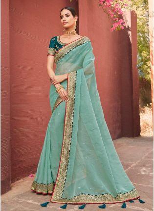 Round Neck Blouse Sea Green Color Organza Fabric Silk Weave Saree