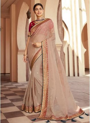 Light Beige Color Organza Fabric Stone And Silk Weave Work  Traditional Saree
