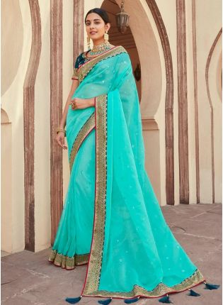 Gorgeous Organza Base Turquoise Color Silk Weave And Stone Work Saree