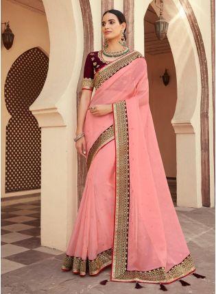 Peach Color Organza Fabric Half And Half Saree With Silk Weave Work