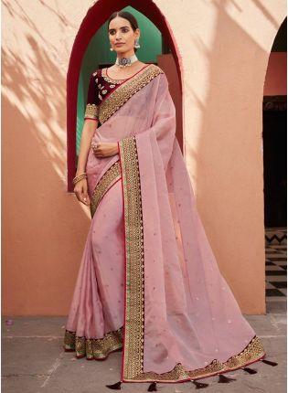 Adorable Baby Pink Color Organza Fabric Silk Weave Half And Half Saree