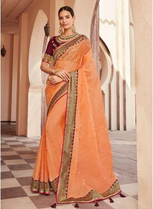 Fabulous Organza Base Orange Color Traditional Half And Half Saree