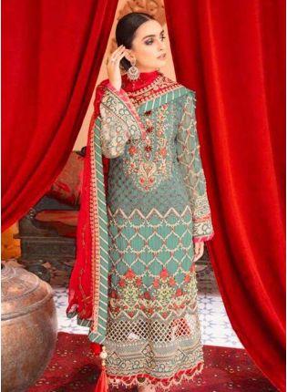 Elegant Georgette Base Turquoise Color Stone And Resham Work Pakistani Suit