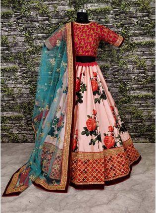 Trendy Pink Resham Intricate With Pure Digital Printed Lehenga Choli