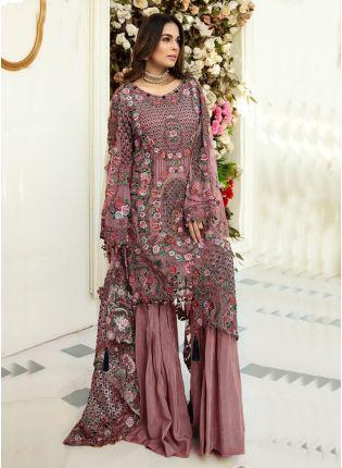 Astonishing Dusty Peach Color Heavy Work Base Pakistani Suit