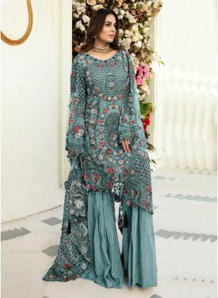 Glamorous Turquoise Color Soft Net Base Pakistani Palazzo Suit