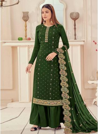 Forest Green Color Georgette Base Stone And Sequins Work Palazzo Salwar Suit