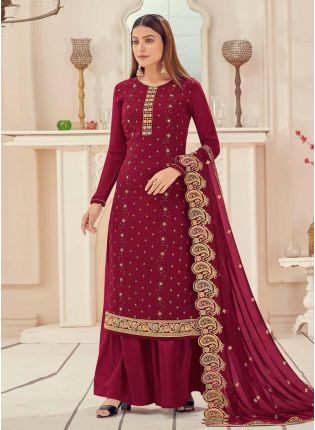 Stone And Resham Work Georgette Base Maroon Color Palazzo Salwar Suit