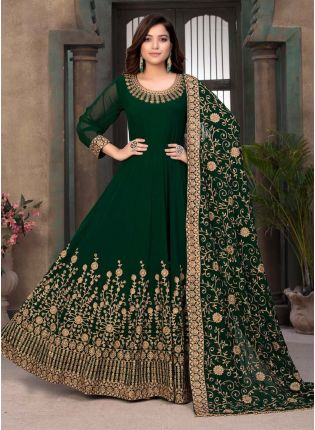 Green Color Georgette Base Stone Work Designer Gown