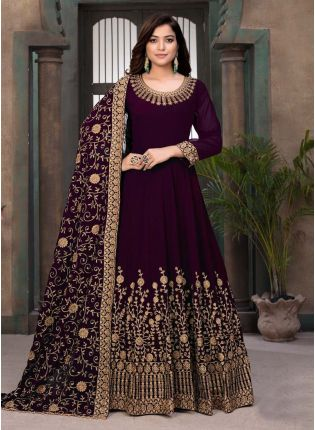 Wine Color Georgette Fabric Stone And Resham Work Gown