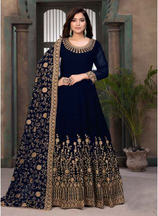 Georgette Base Navy Blue Color Stone Work Gown With Dupatta