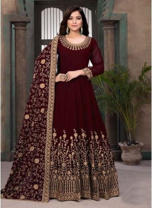 Maroon Color Stone Work Georgette Base Designer Gown With Dupatta