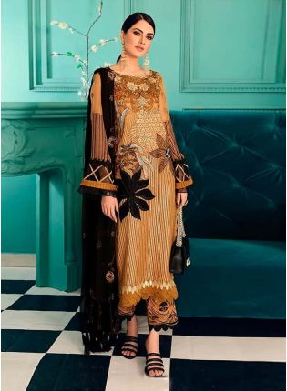 Exquisite Golden Yellow Color Sequins And Zari Work Pakistani Pant Style Suit
