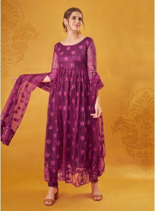 Trendy Designer Magenta Color Net Base Salwar Kameez Suit