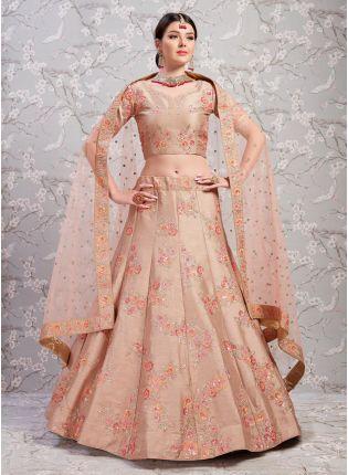 Decent Phenomenal Light Brown Silk Base Sangeet Trendy Lehenga Choli