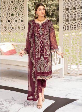 Astonishing Wine Color Georgette Base Zari And Dori Work Pakistani Salwar Suit