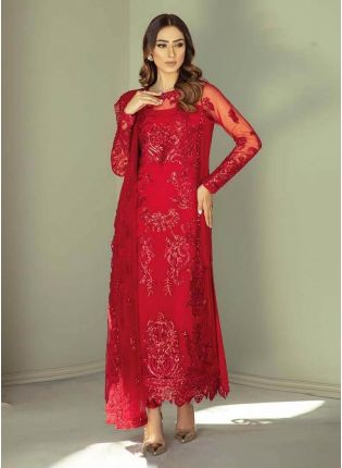 Fabulous Look Red Color Georgette Base Heavy Work Pant Style Salwar Suit